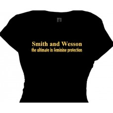 gun t shirt - smith and wesson the ultimate in feminine protection